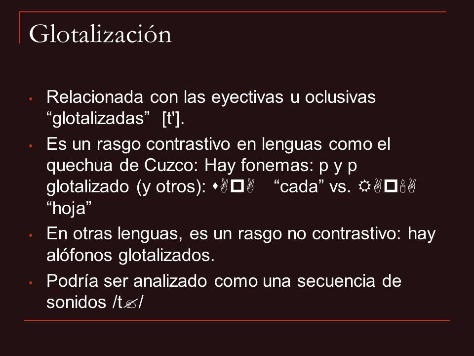 Glotalización Relacionada con las eyectivas u oclusivas glotalizadas [t ].